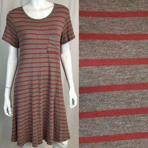LuLaRoe Carly Striped Pocket Shirt High Low Dress